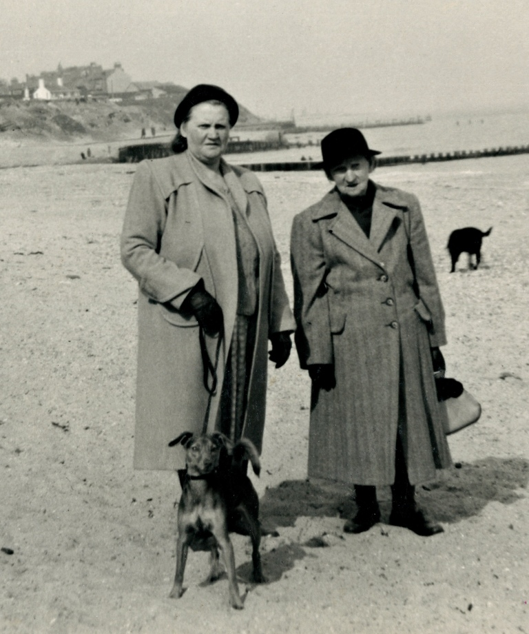 Miriam Fieldhouse with older woman and dog. Circa 1940  (F1-1)