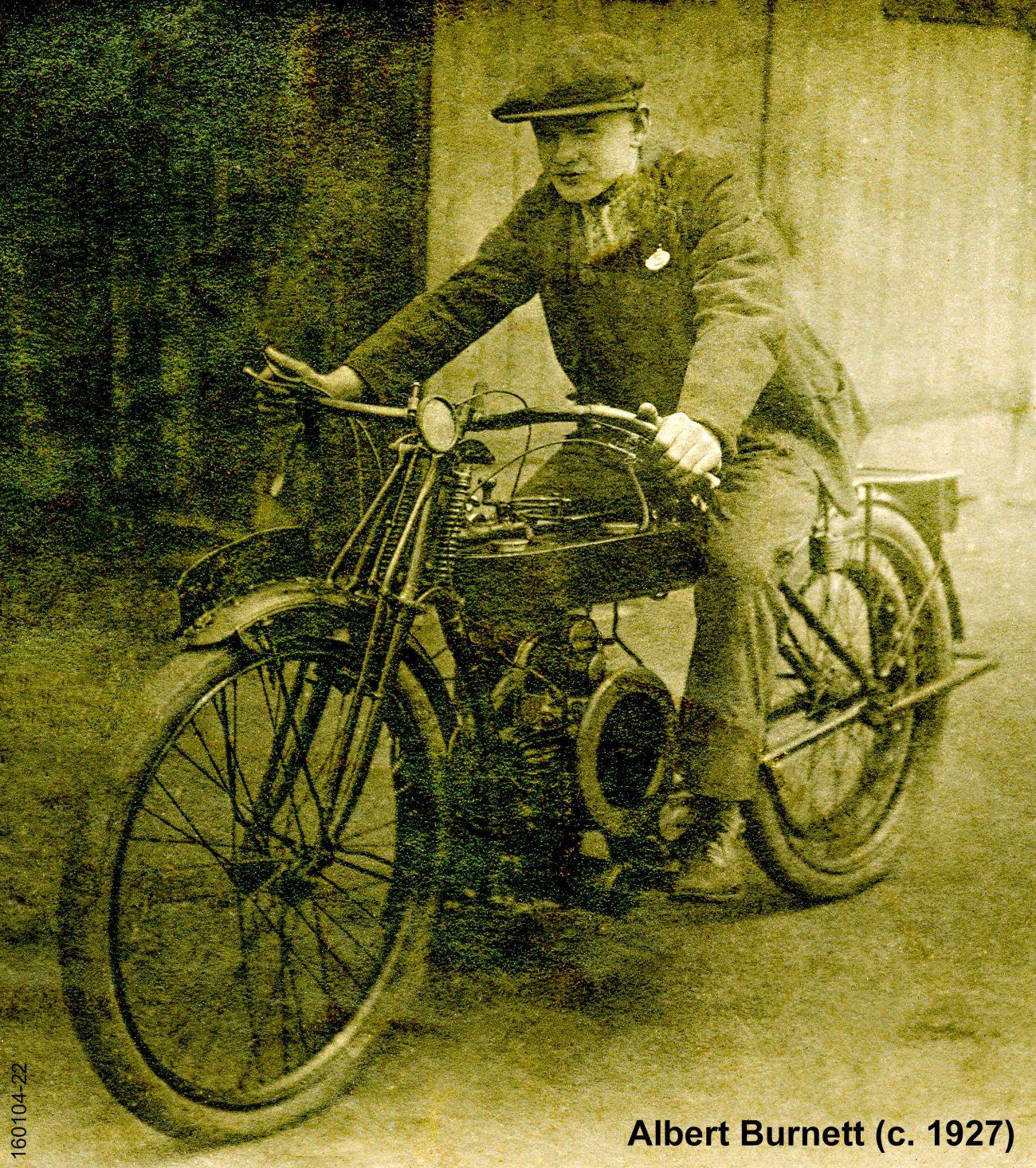 Family Archives (1601) : Albert Burnett on Motorcycle (c. 1927)