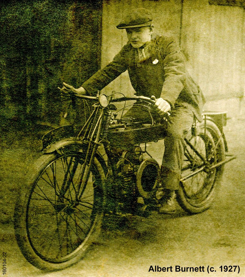 Family Archives (1601) : Albert Burnett on Motorcycle (c. 1927)