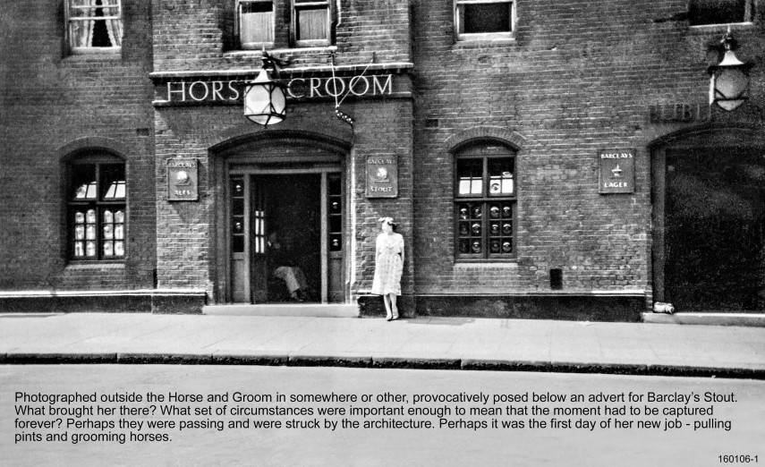 Ephemera : Stood Outside The Horse and Groom - Subject and Location Unknown