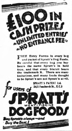 Advert For Spratts Dog Biscuits