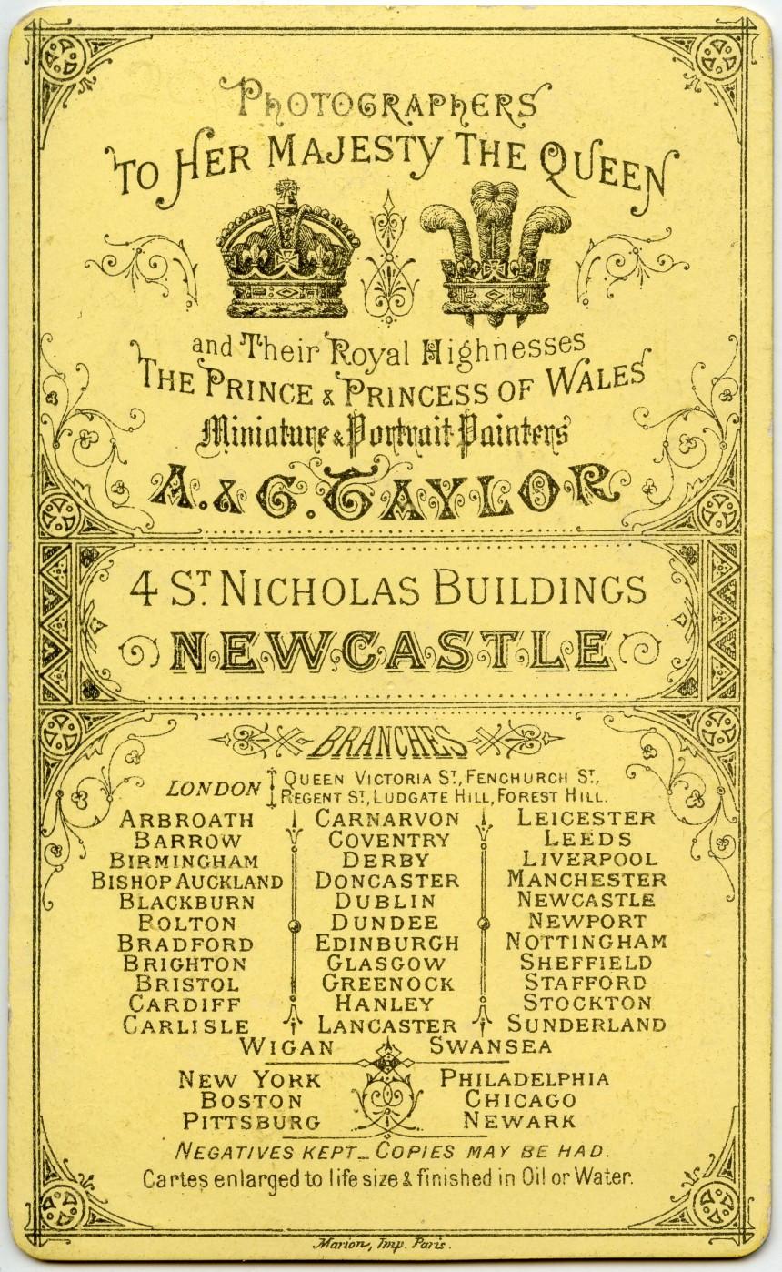 Carte de Visite : A & G Taylor, Newcastle