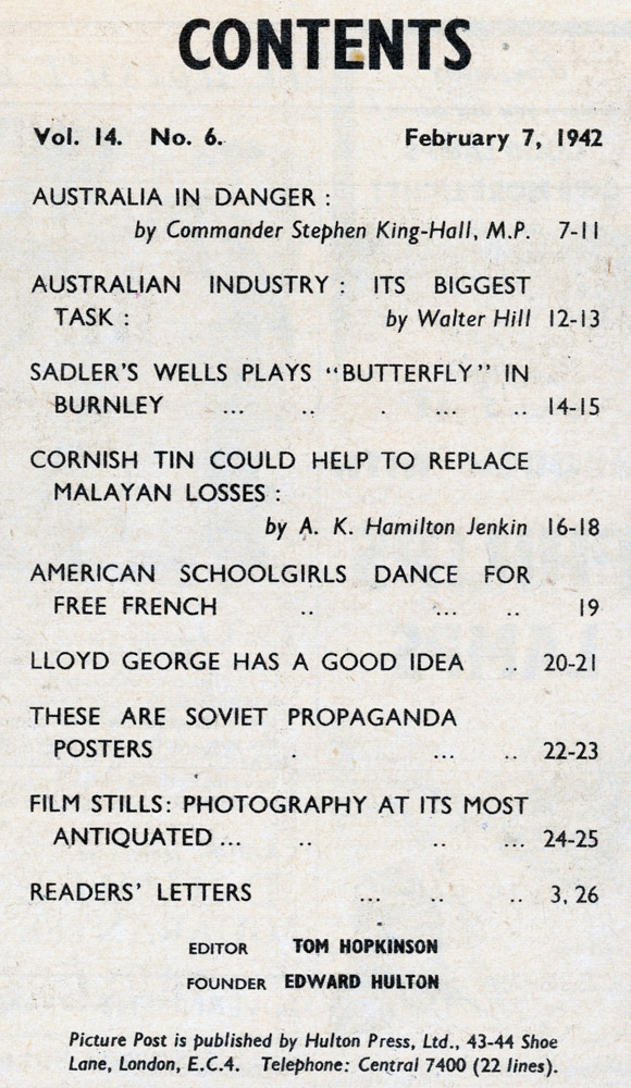 Contents Page : Picture Post 7 Feb 1942