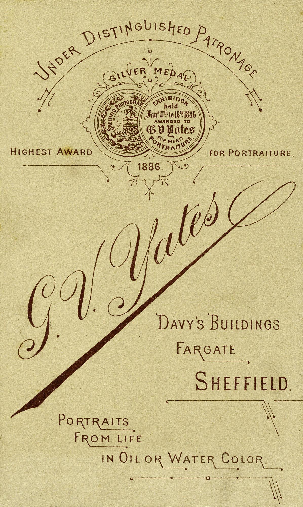 Carte de Visite : G V Yates, Sheffield
